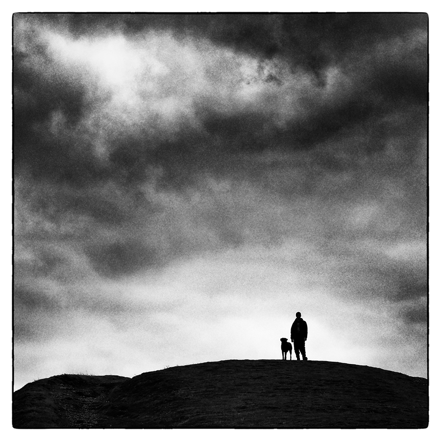 One Man and His Dog Malvern Hills photograph by Steve Gosling